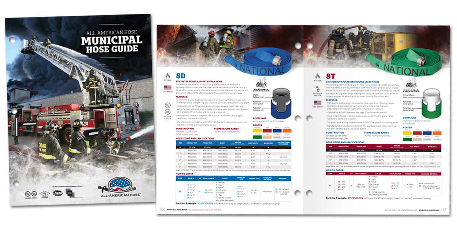 All-American Hose Brochure Cover and Fire Hoses