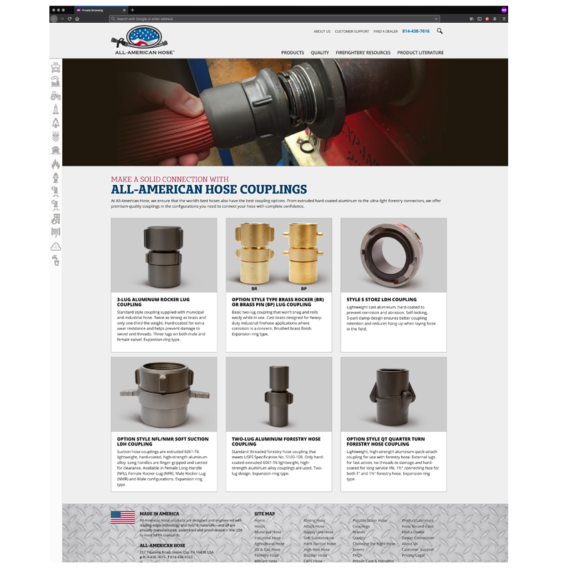 All-American Hose Responsive Website: Couplings Page