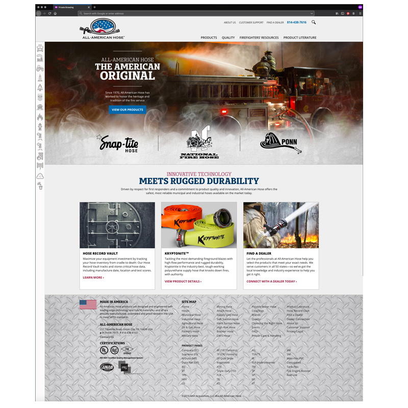 All-American Hose Responsive Website Design and Development