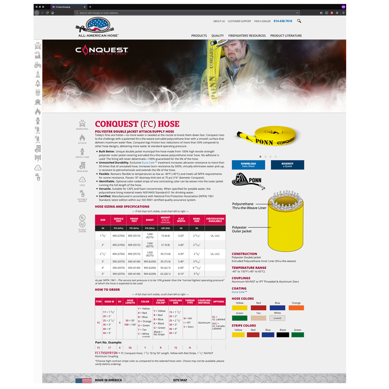 All-American Hose Responsive Website: Conquest Hose Page