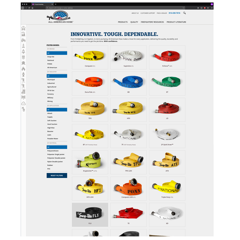 All-American Hose Responsive Website: Hose Search page
