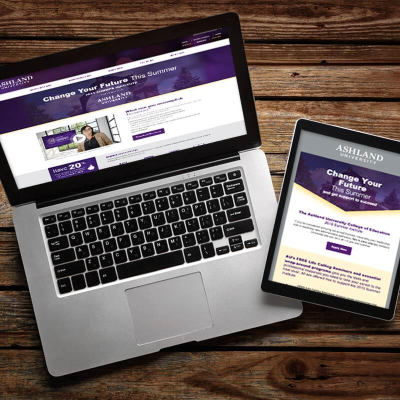 Ashland University College of Education Landing Page and Emails