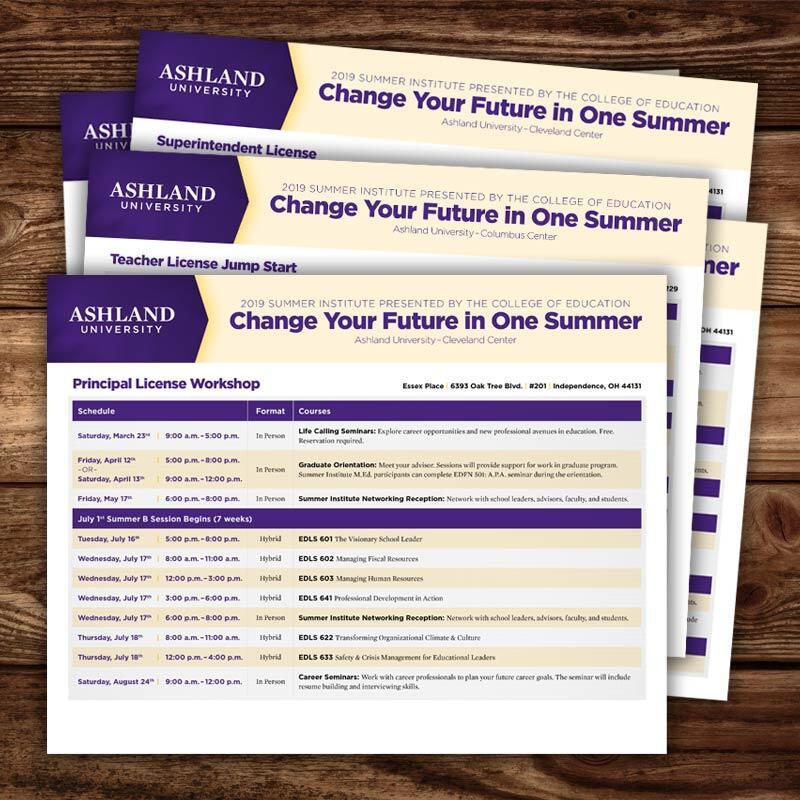 Ashland University Summer Institute Schedules