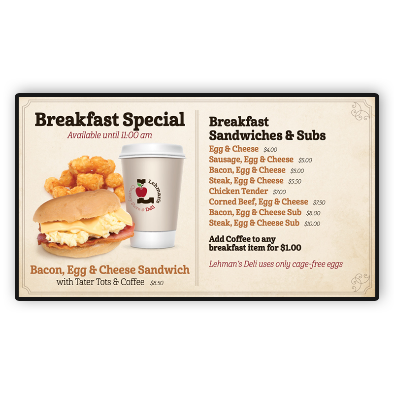 Lehman's Deli Digital Screen: Breakfast