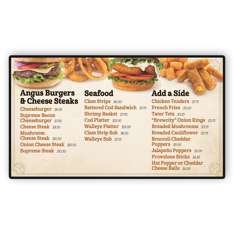 Lehman's Deli Digital Screen: Burgers, Seafood and Sides