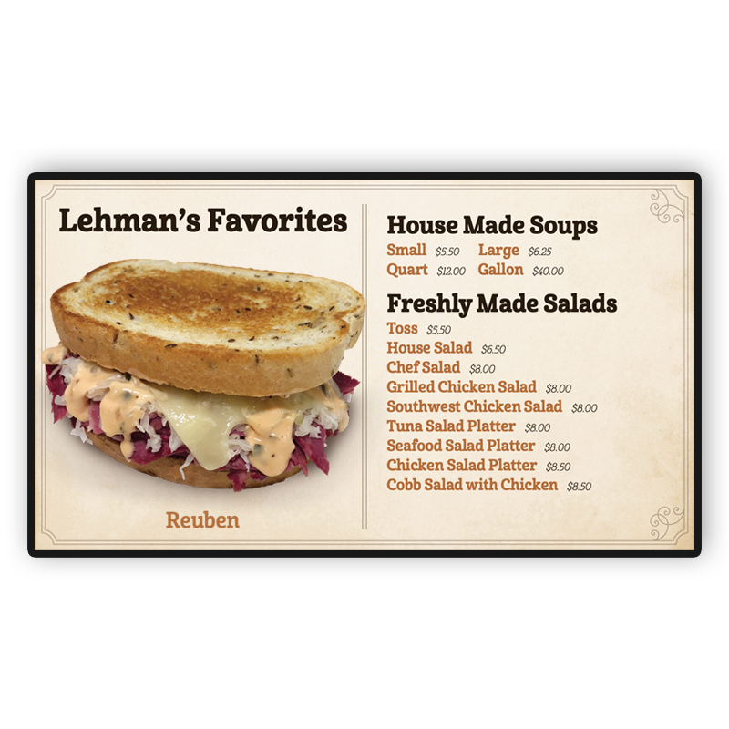 Lehman's Deli Digital Screen: Favorites, Soups and Salads