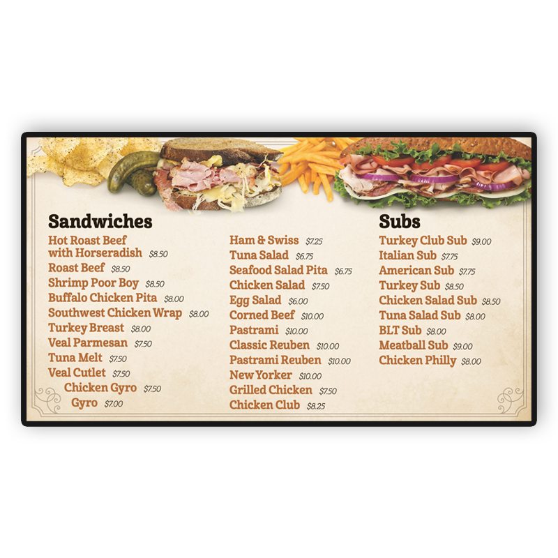 Lehman's Deli Digital Screen: Sandwiches & Subs