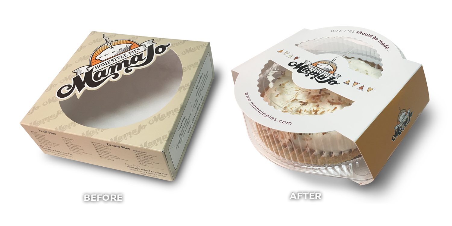 Mama Jo Pies Before & After Large Pie Packaging