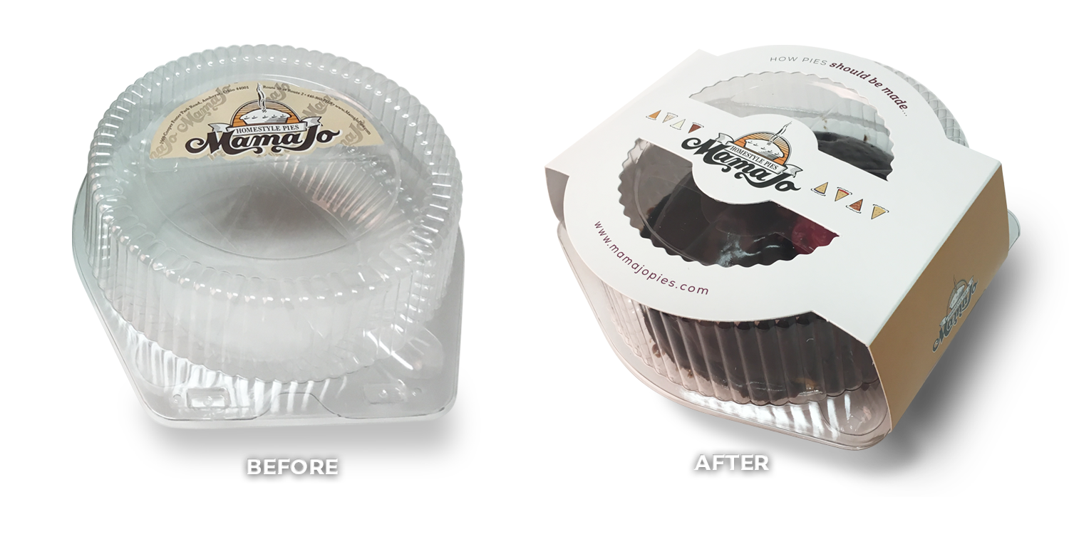 Mama Jo Pies Before & After Small Pie Packaging