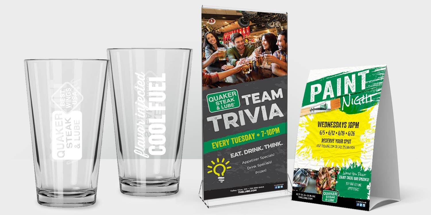 Quaker Steak & Lube Glasses and Table Toppers