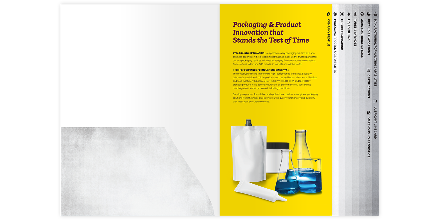 Specialty Lubricants Brochure and Folder Company Profile