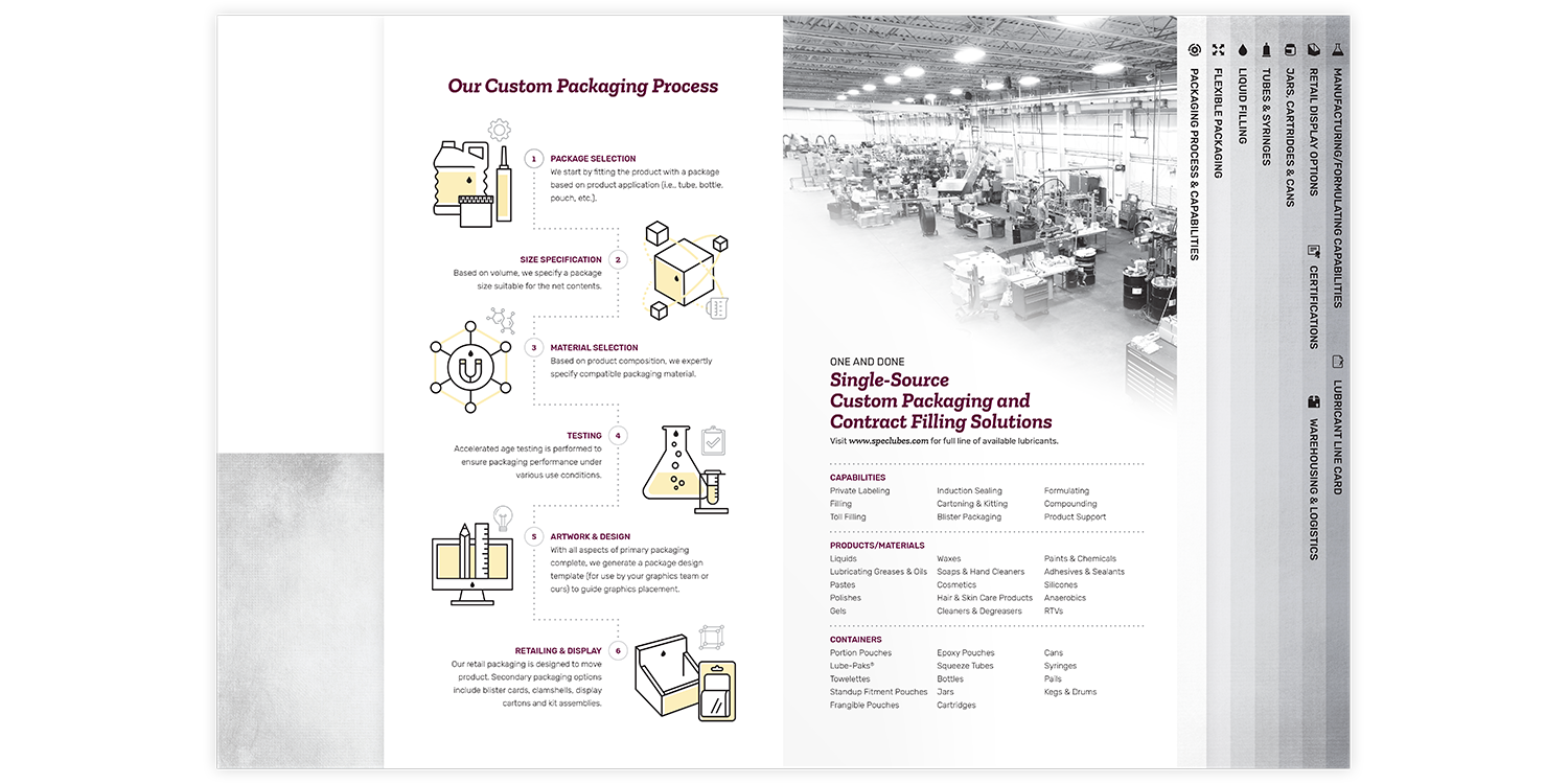 Specialty Lubricants Brochure and Folder Process and Capabilities