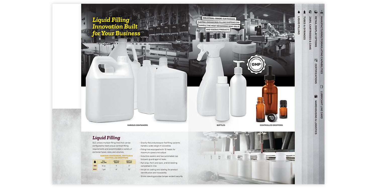 Specialty Lubricants Brochure and Folder Liquid Filling