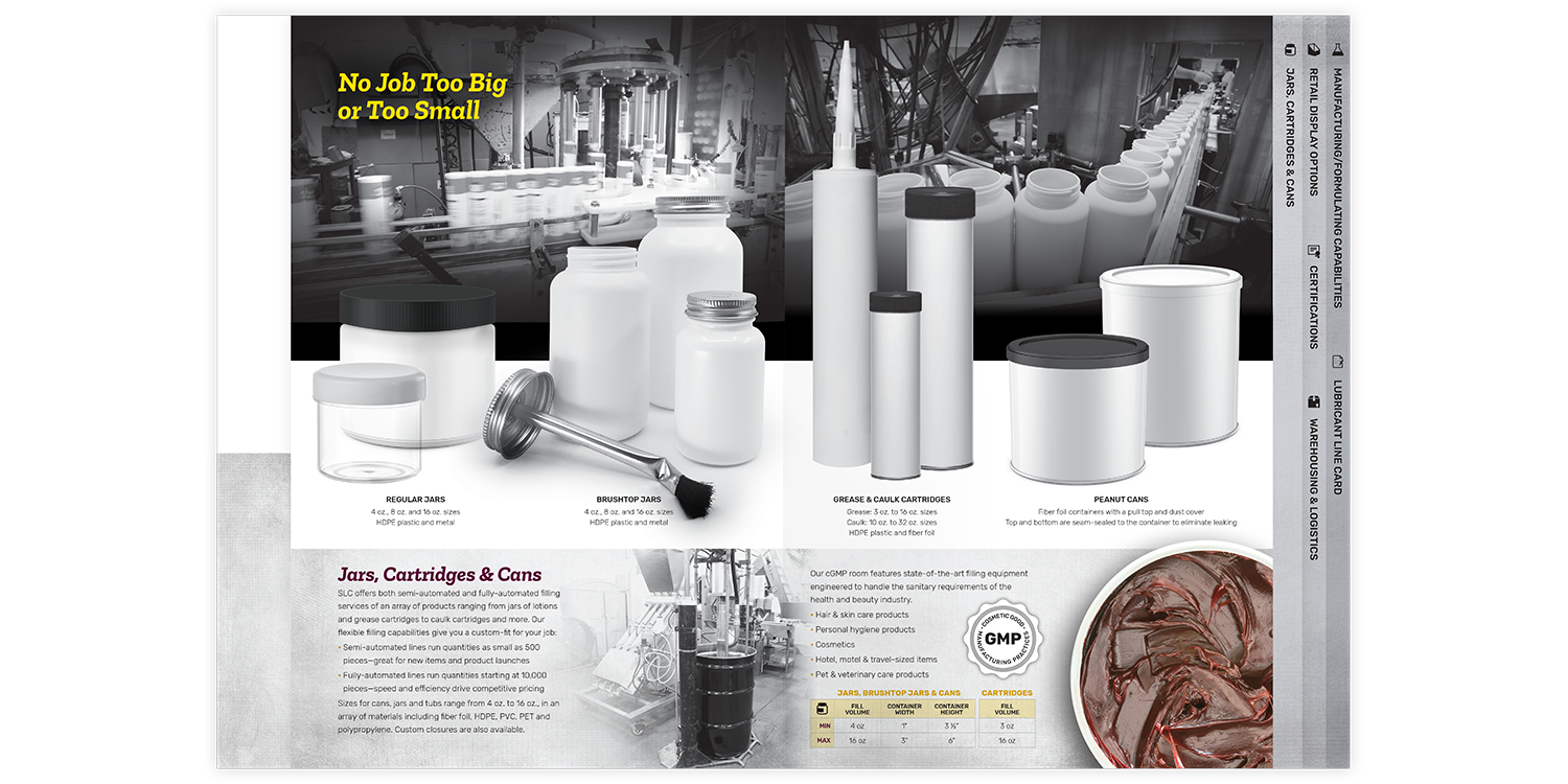 Specialty Lubricants Brochure and Folder Jars, Cartridges & Cans