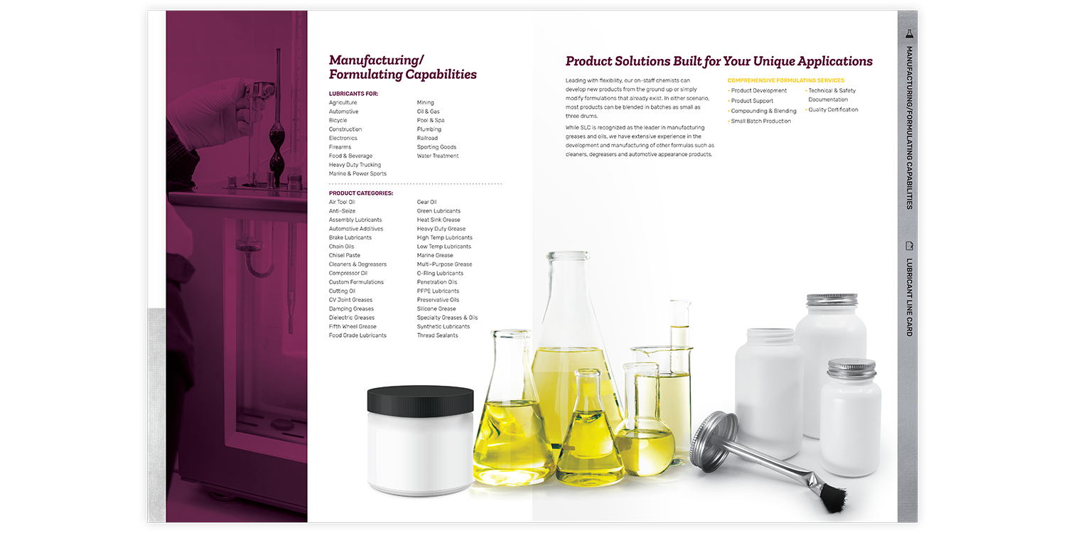 Specialty Lubricants Brochure and Folder Capabilities and Applications