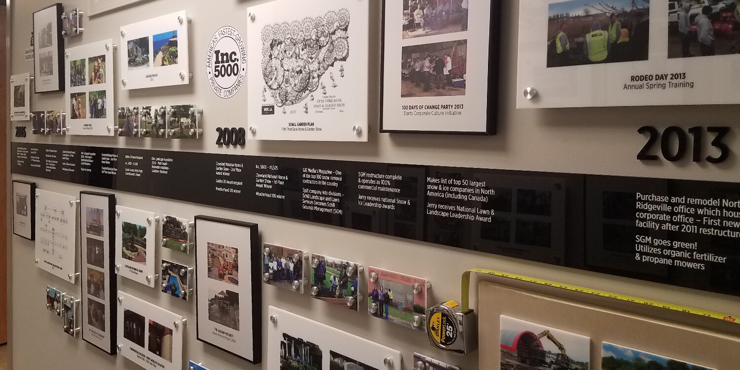 Mixed media history wall for Schill Grounds Management 25 year anniversary
