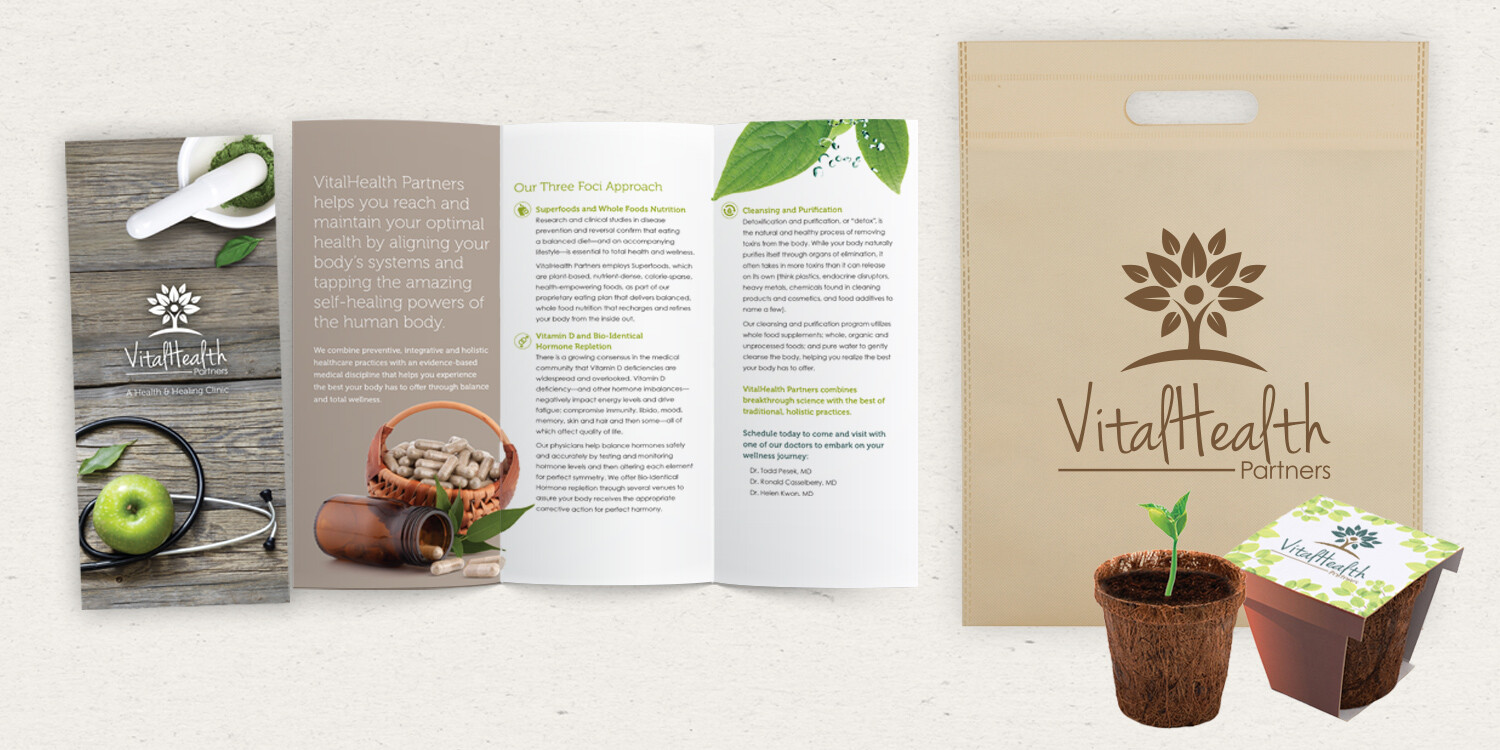 VitalHealth Partners Trifold Brochure and Canvas Bag and Plant Give-away items